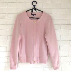 J. Crew pink Merino zippered sweater-jacket